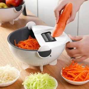 Multifunctional Kitchen Fruit Grater Slicer Magic Rotate Vegetable Cutter Potato Slicer with Drain Basket Household Kitchen Tool